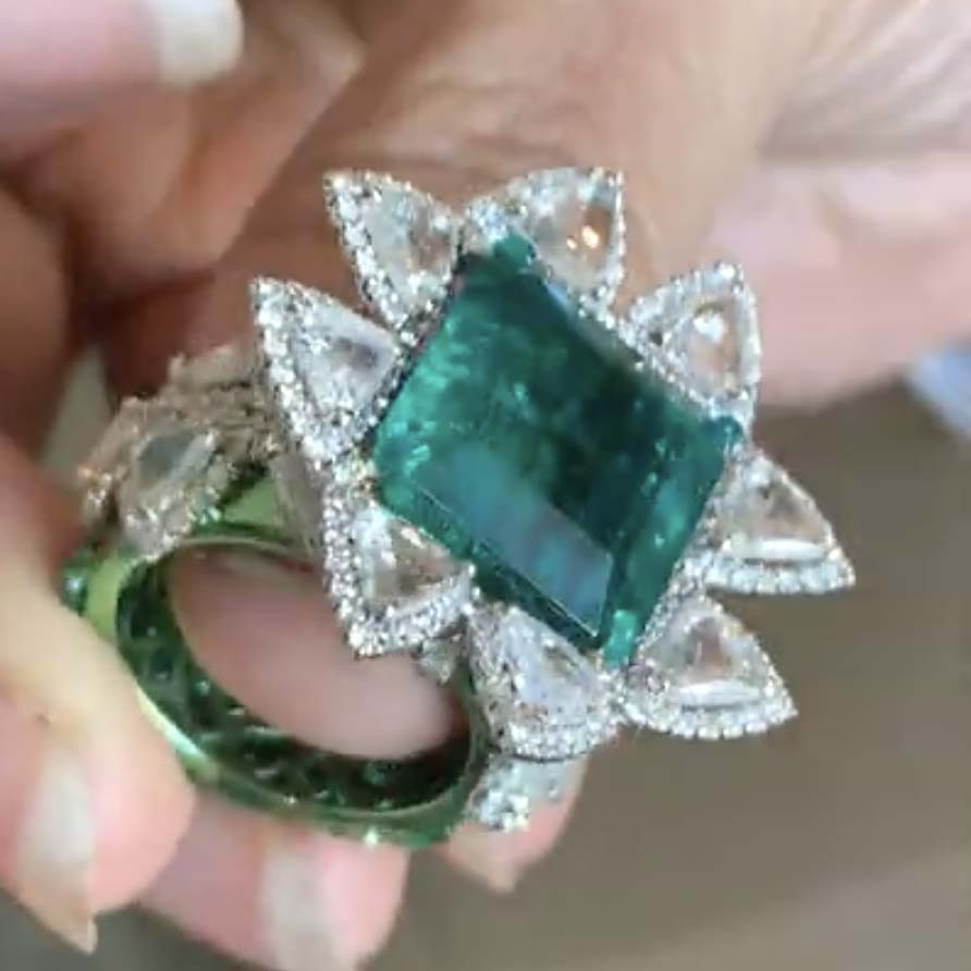 Bina Goenka ring with Zambian emerald from Gemfields