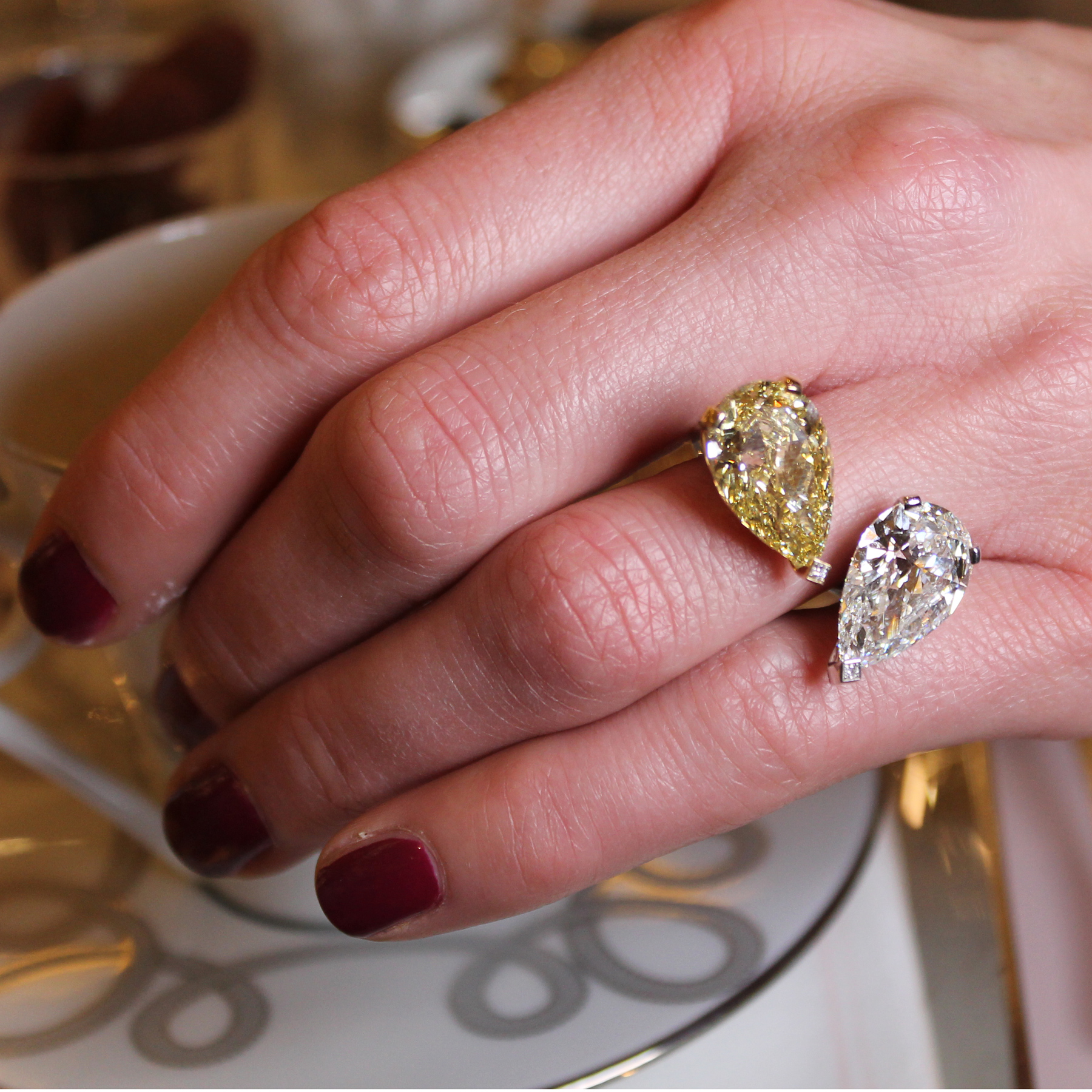 Messika toi et moi high jewellery ring with a yellow and
