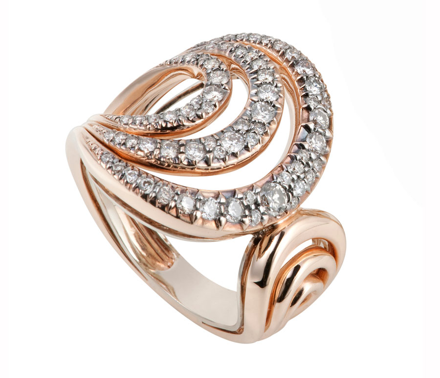 H Stern Ring In Rose And Noble Gold With Diamonds