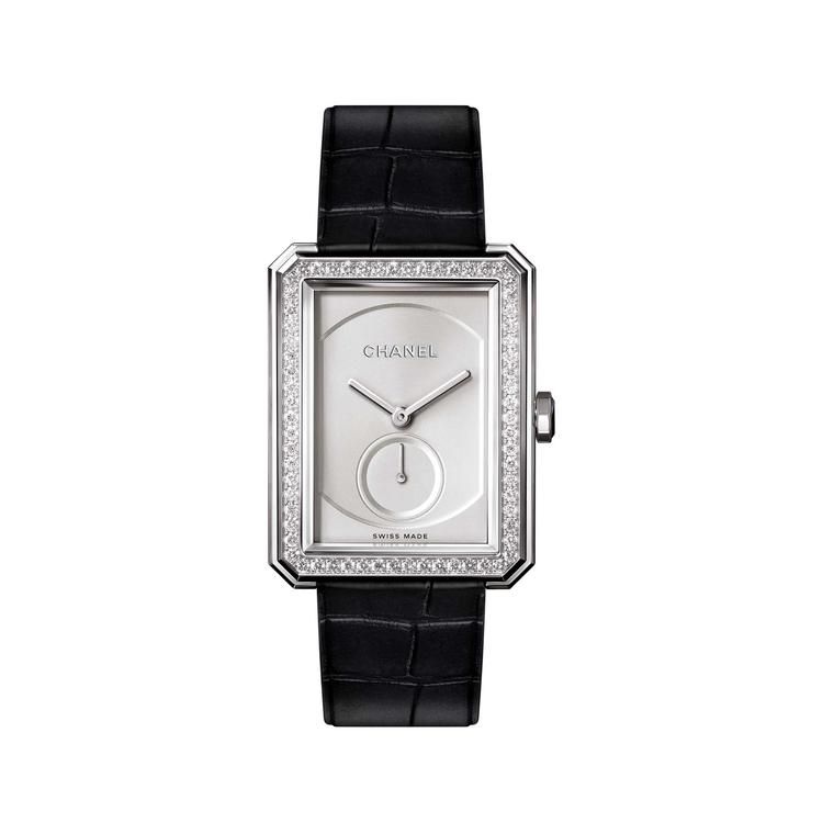 Chanel Boyfriend white gold mechanical watch with diamonds