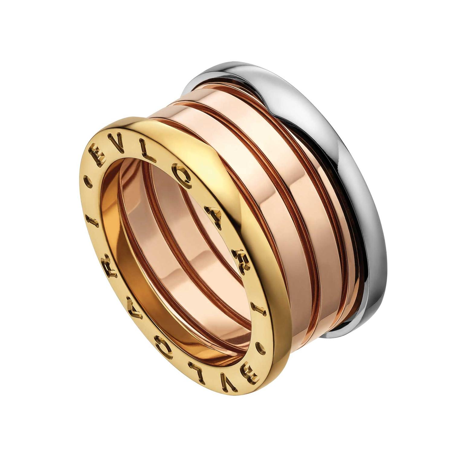 Bulgari B.zero1 ring in white, rose and yellow gold