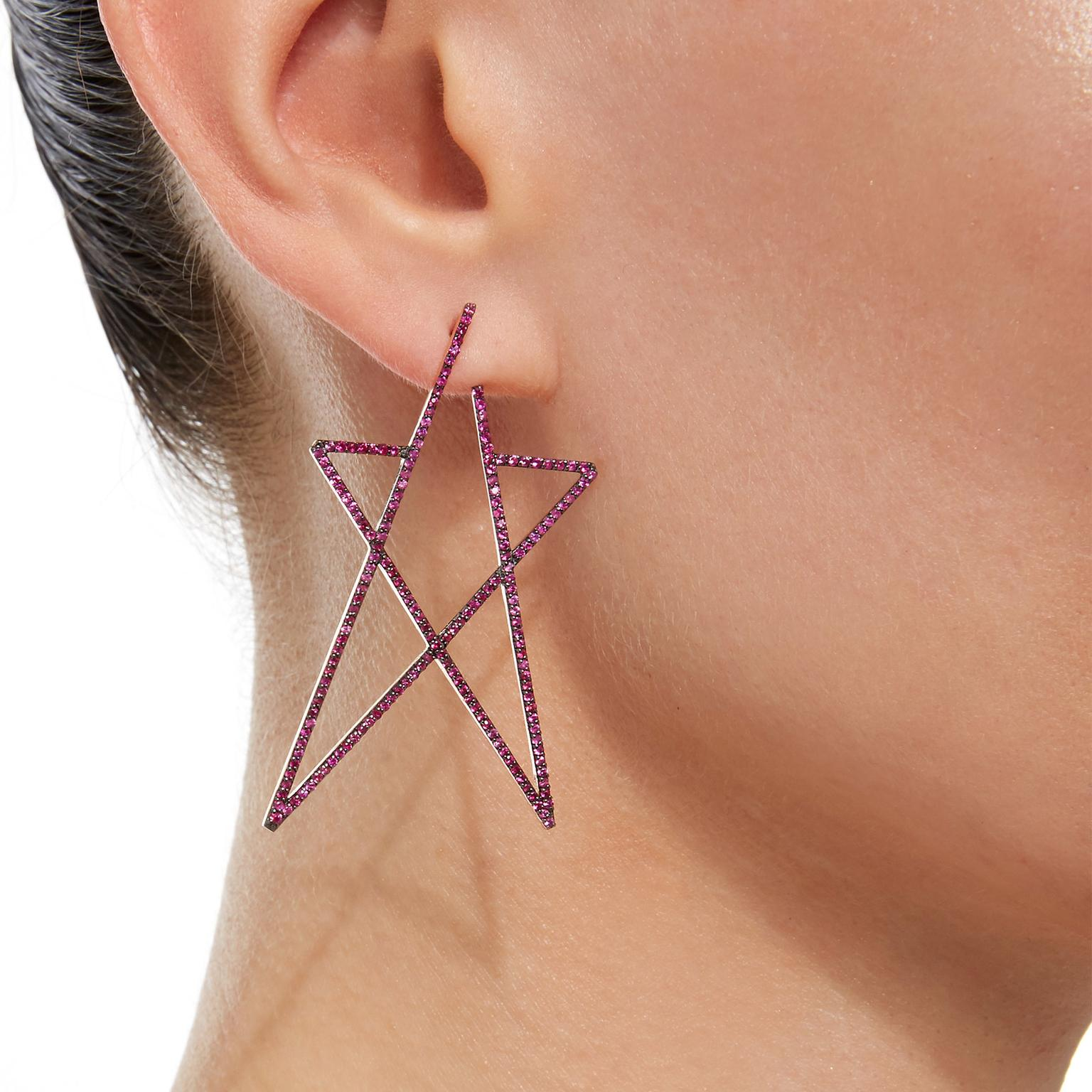 Kismet by Milka GemfieldsxMuse ruby Struck Star earring