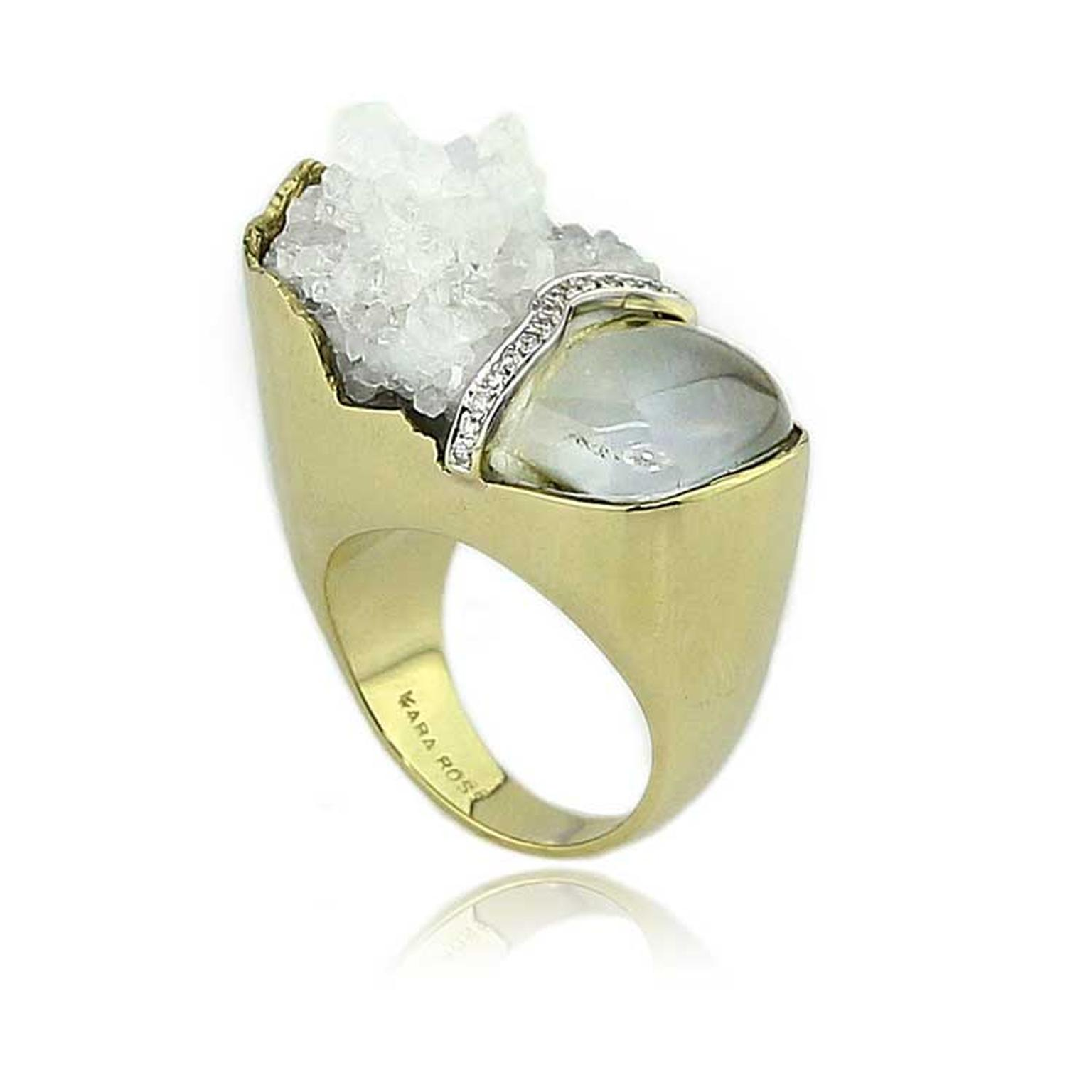 Kara Ross Petra Split ring with raw white quartz and smooth rock crystal