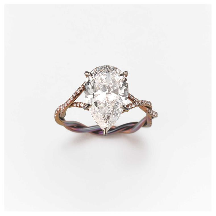 Glenn Spiro pear diamond ring