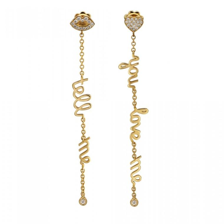 Tell Me You Love Me gold and diamond drop earrings