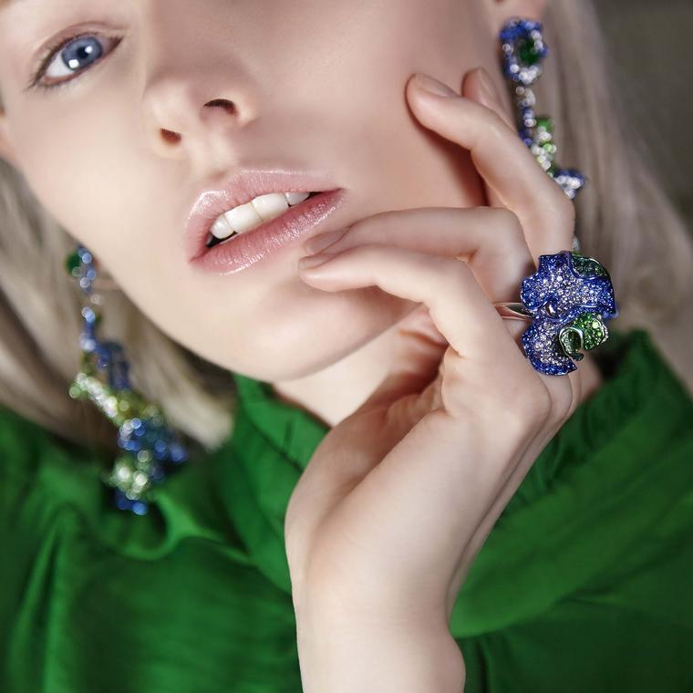 Neha Dani Parisa earrings Teal ring diamonds and tsavorite