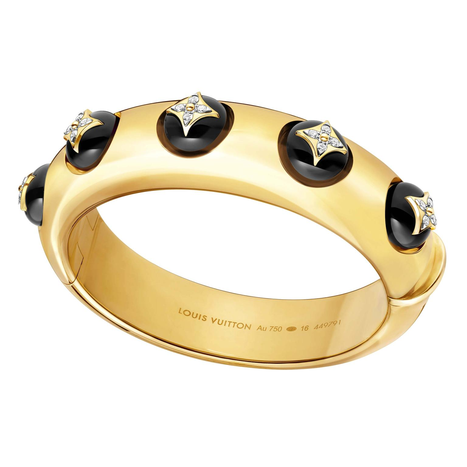 Louis Vuitton B.Blossom bracelet in yellow gold onyx and diamonds