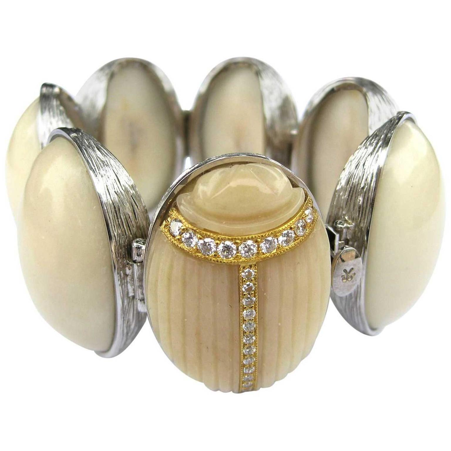 K Brunini Jewels carved Tagua nut scarab bracelet