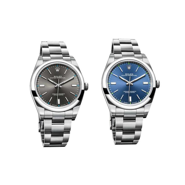 Rolex Oyster Perpetual dark rhodium and blue watches