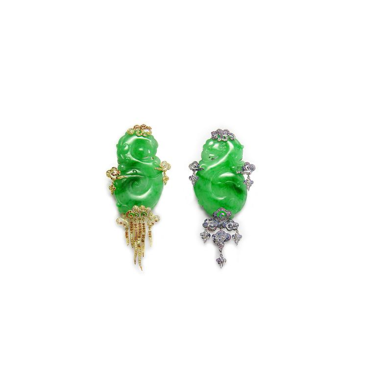 Fei Liu jewellery jadeite cloud wind earring