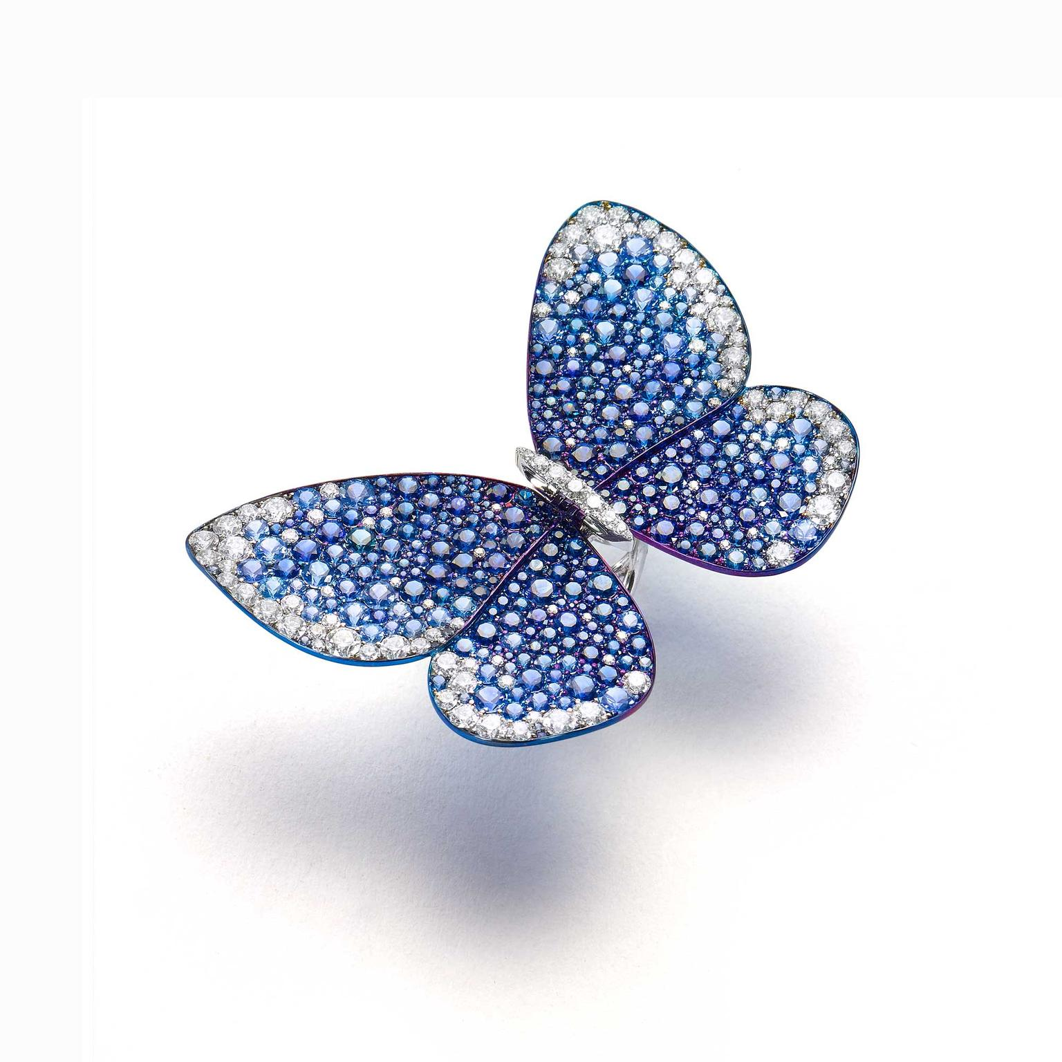 Glenn Spiro titanium and white gold with sapphires butterfly ring