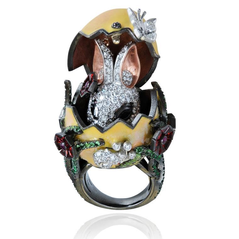 Lydia Courteille Procreation bunny rabbit hatching from egg ring