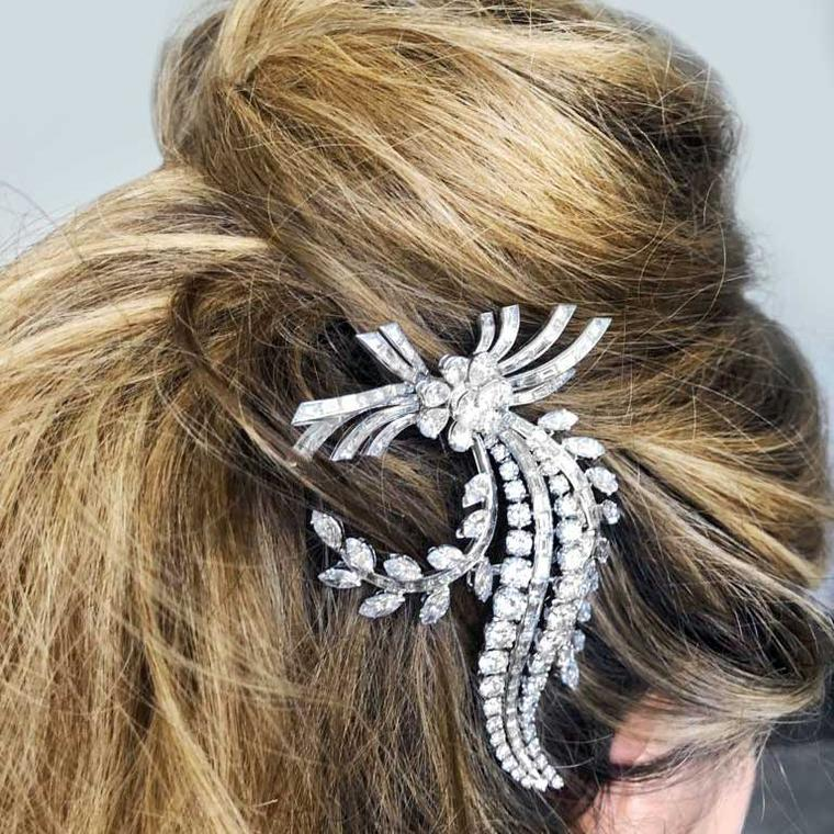 1950 platinum brooch in hair