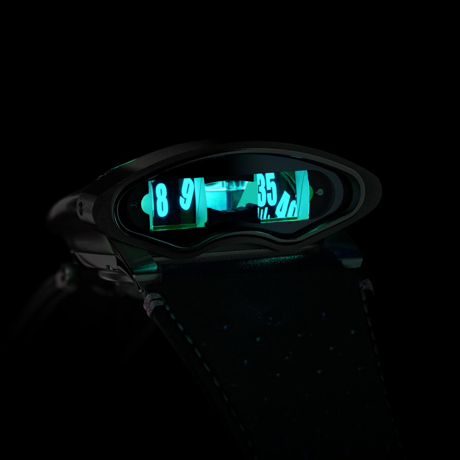 MB&F HMX Black Badger watch - side view