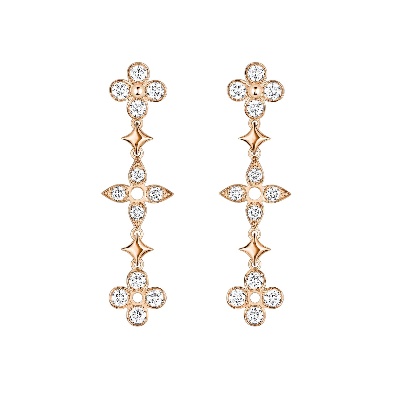 Louis Vuitton Dentelle de Monogram pink gold and diamond earrings