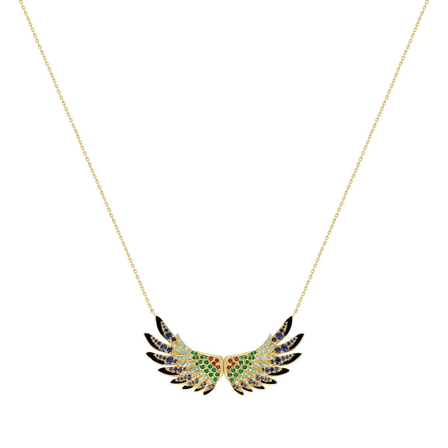 Lalique Perroquet parrot wing pendant necklace