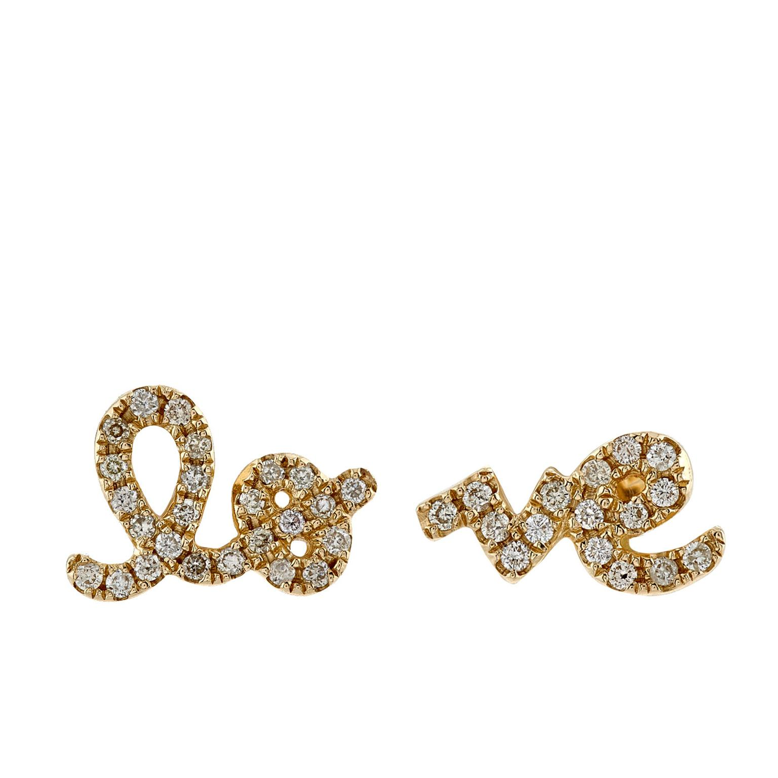 Sydney Evan yellow gold and diamond Love ear studs
