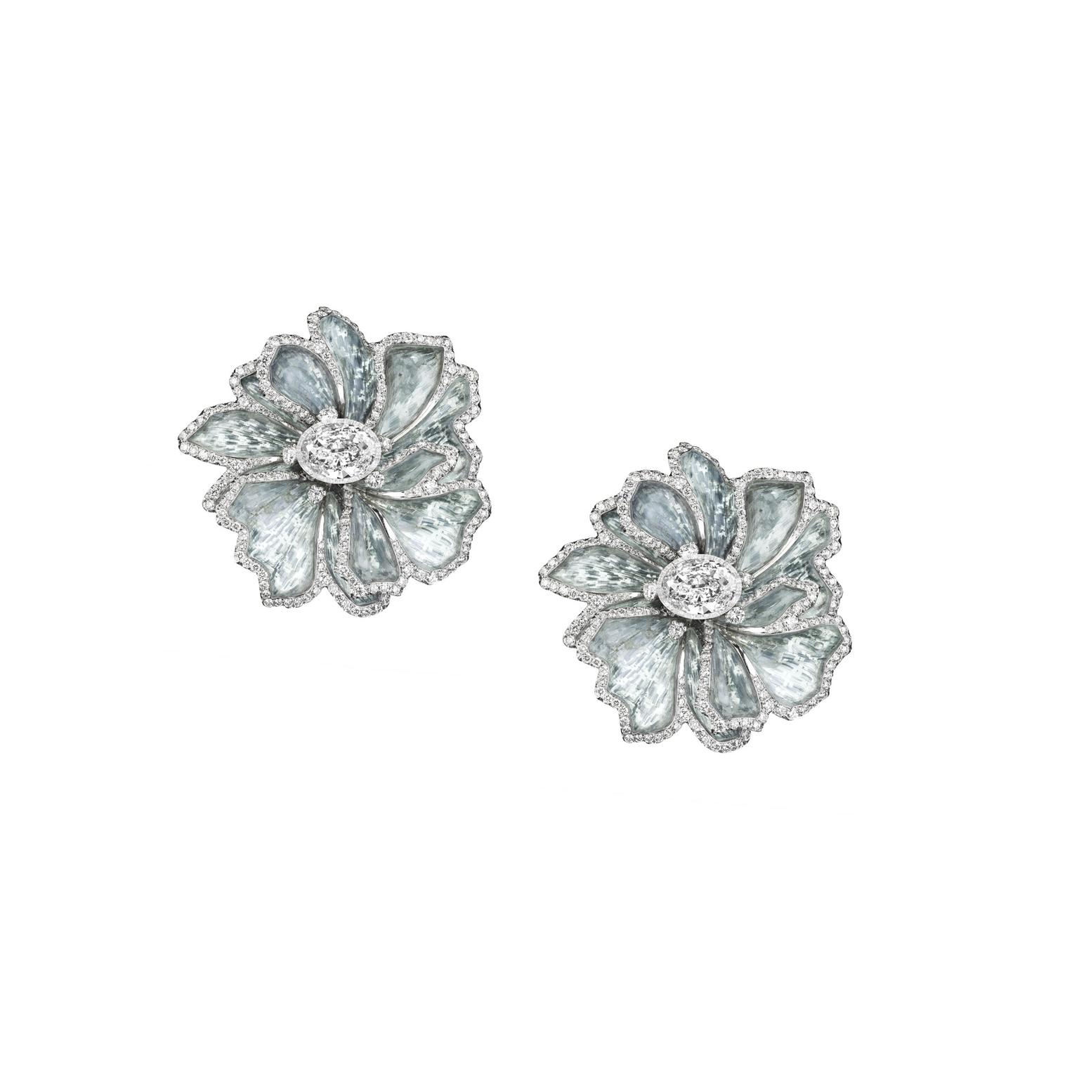 Boghossian titanium white gold and diamond earrings
