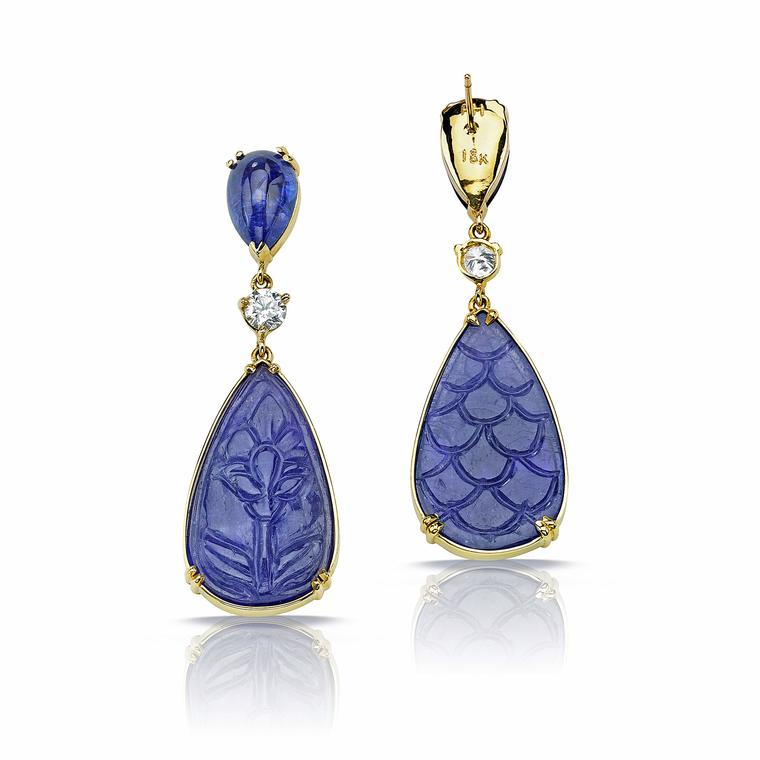 Pamela Huizenga carved tanzanite earrings