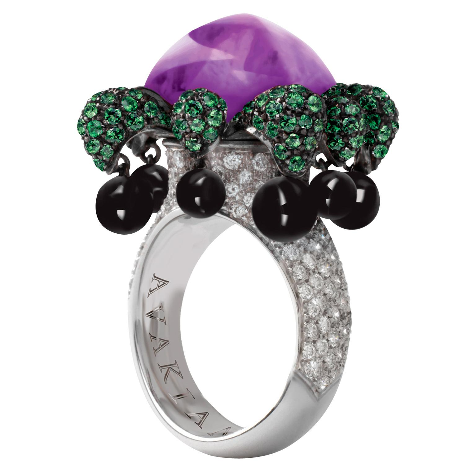 Avakian tsavorite and onyx Joker ring