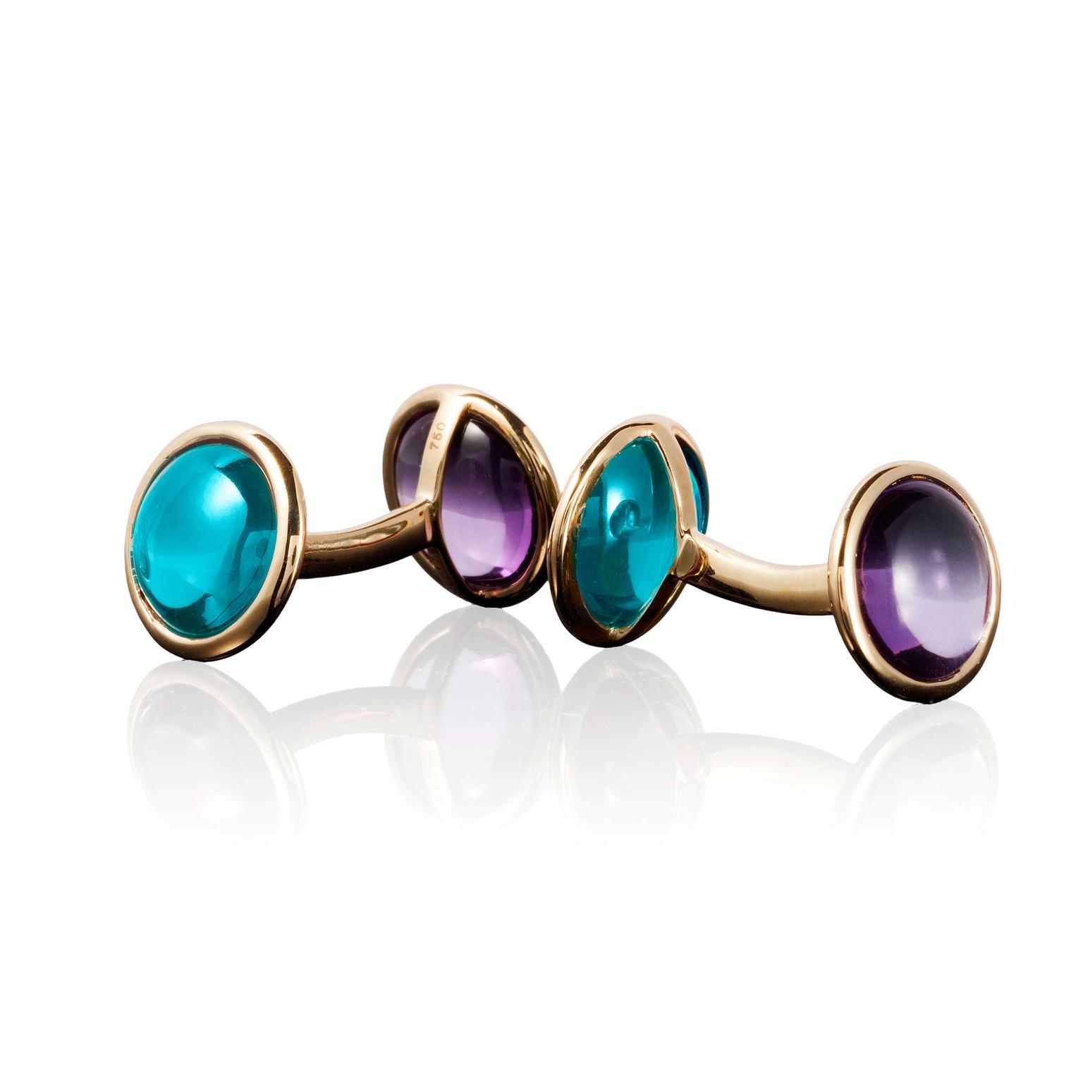 Goshwara amethyst and blue topaz cufflinks