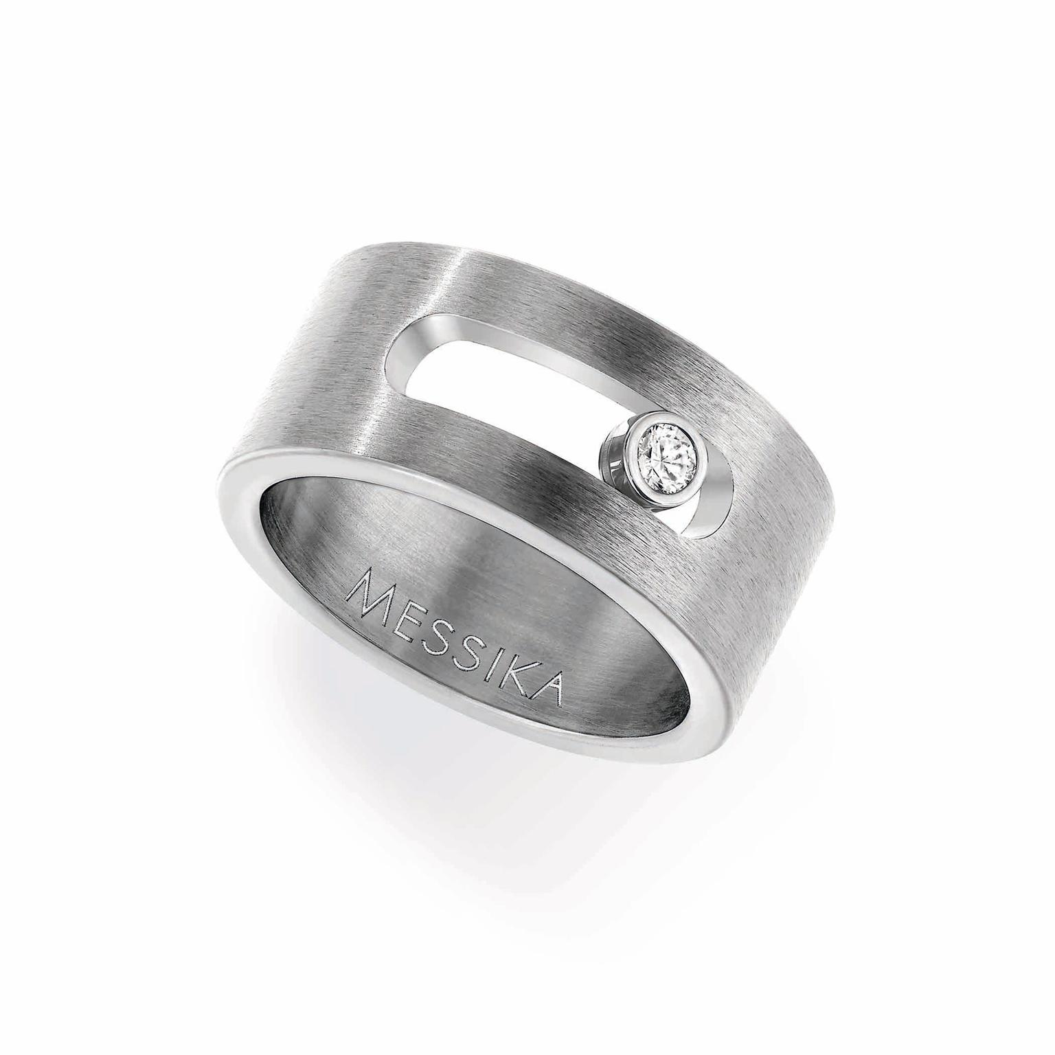 Messika Move ring in titanium with white diamond