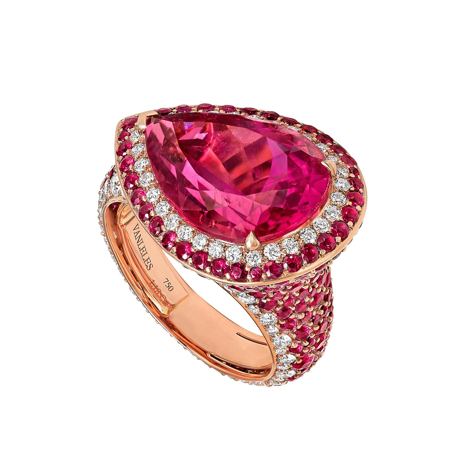 Vanleles Out of Africa rubellite ring