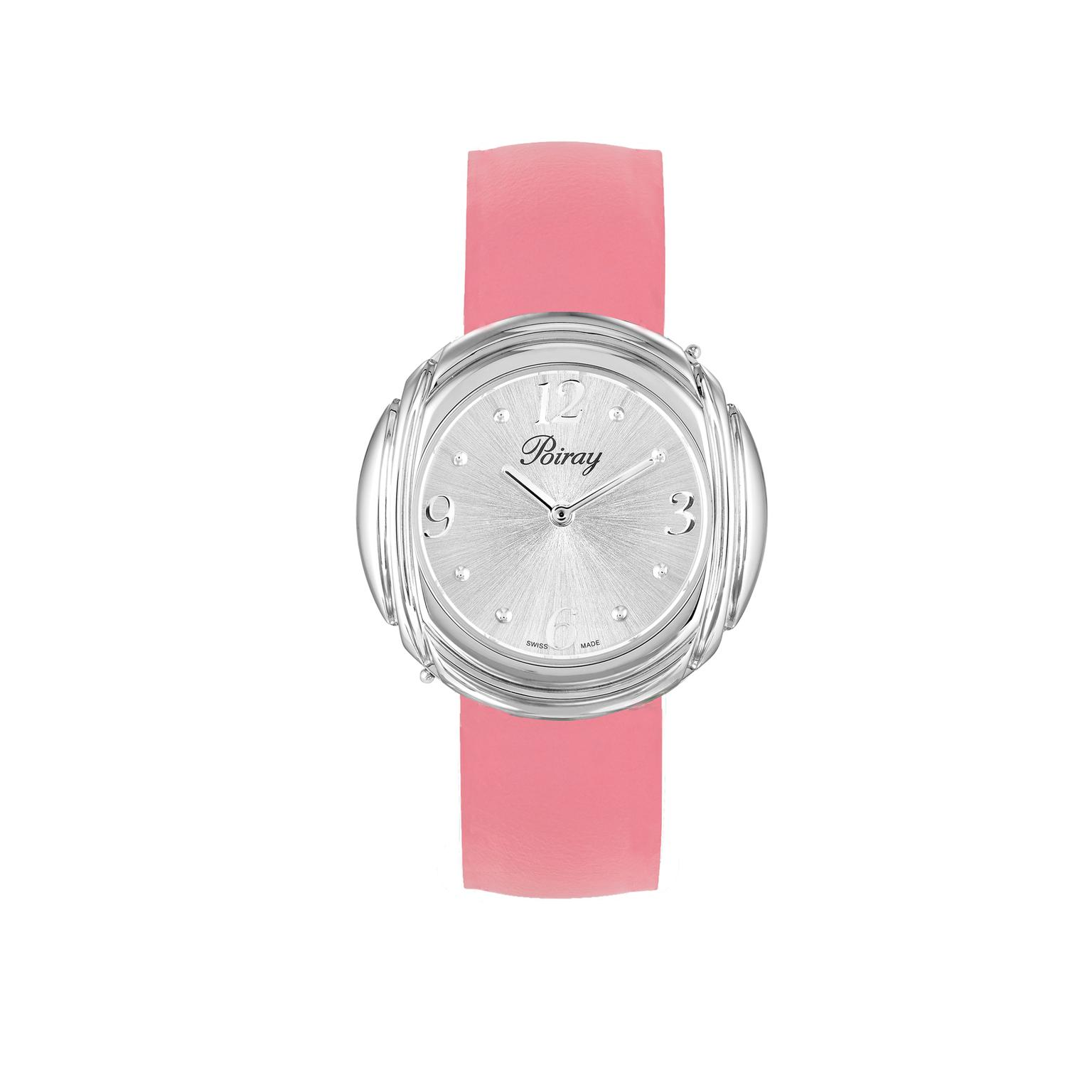 Poiray Ma Préférée steel watch with a special edition Valentine's Day strap