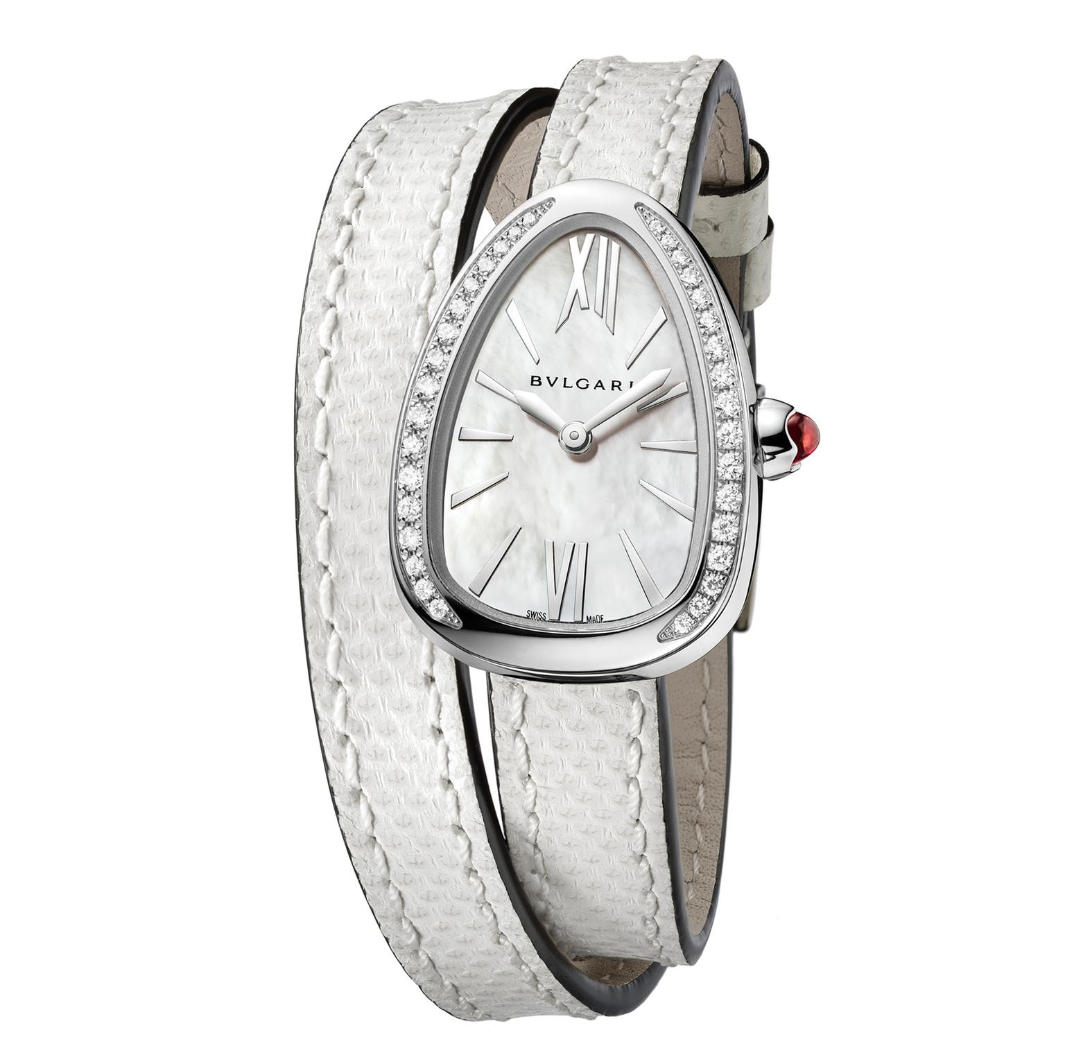 Bulgari Serpenti watch in steel with diamonds