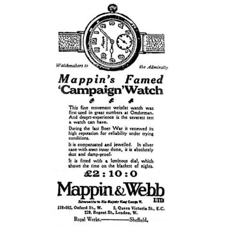 Mappin & Webb Campaign watch ad from WW1