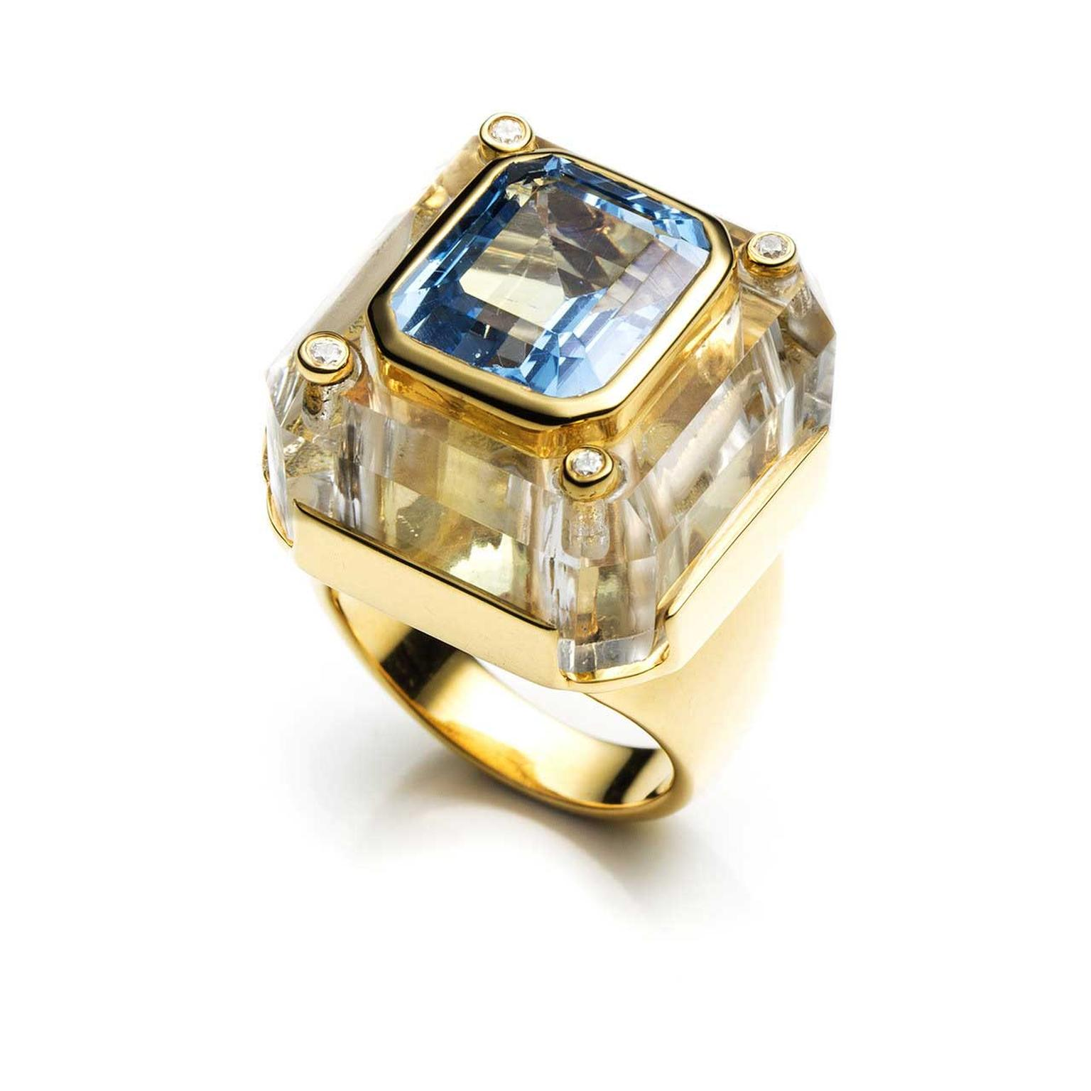 Kara Ross Cava ring with rock crystal and blue topaz
