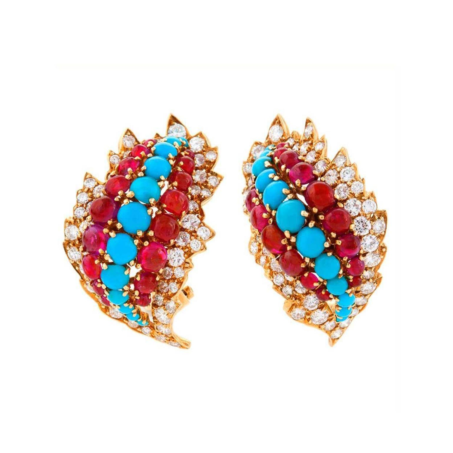 Macklowe Gallery American Mid 20th Century gold earclips diamonds rubies and turquoise by David Webb
