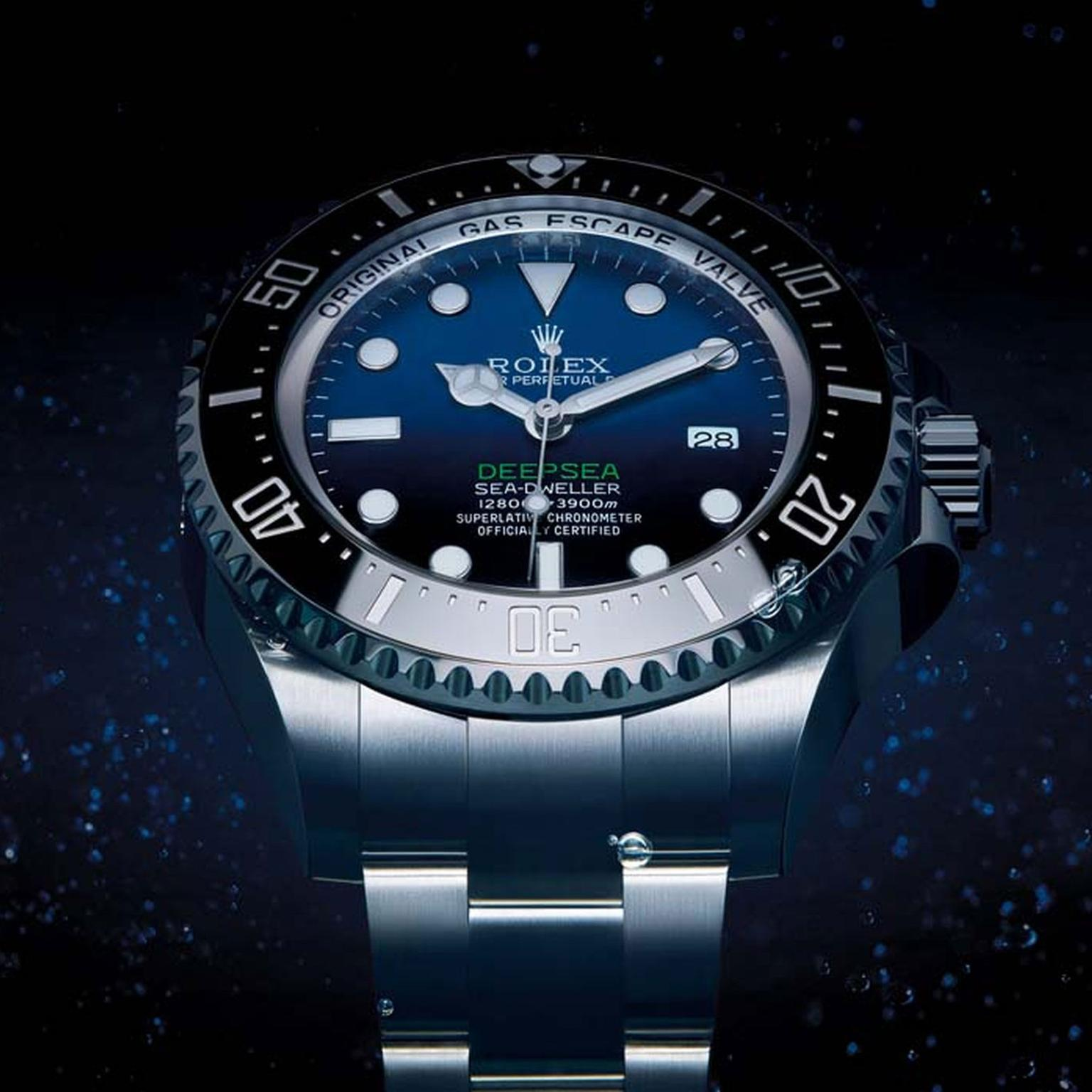 The D-Blue dial on the latest Rolex Deepsea dive watch evokes the changing colours of the water during Cameron's solo descent. Graduating from a brilliant azure blue at the top of the dial, the colour intensifies and darkens to a bottomless black represen
