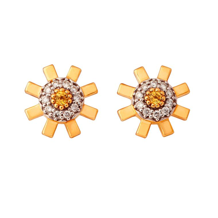 Stenmark yellow sapphire and white diamond stud earrings