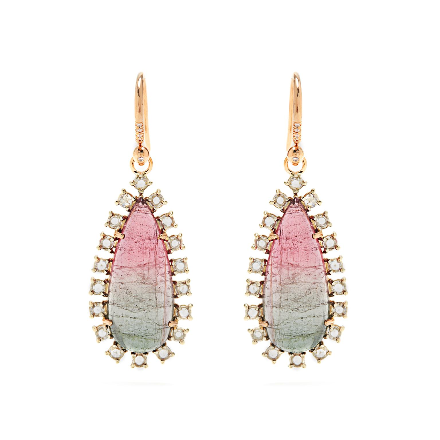 Irene Neuwirth watermelon tourmaline earrings with rose-cut diamonds