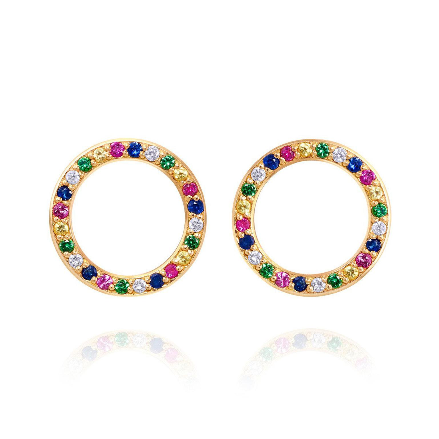 Sabine Getty Baby Memphis studs with multi-coloured gemstones