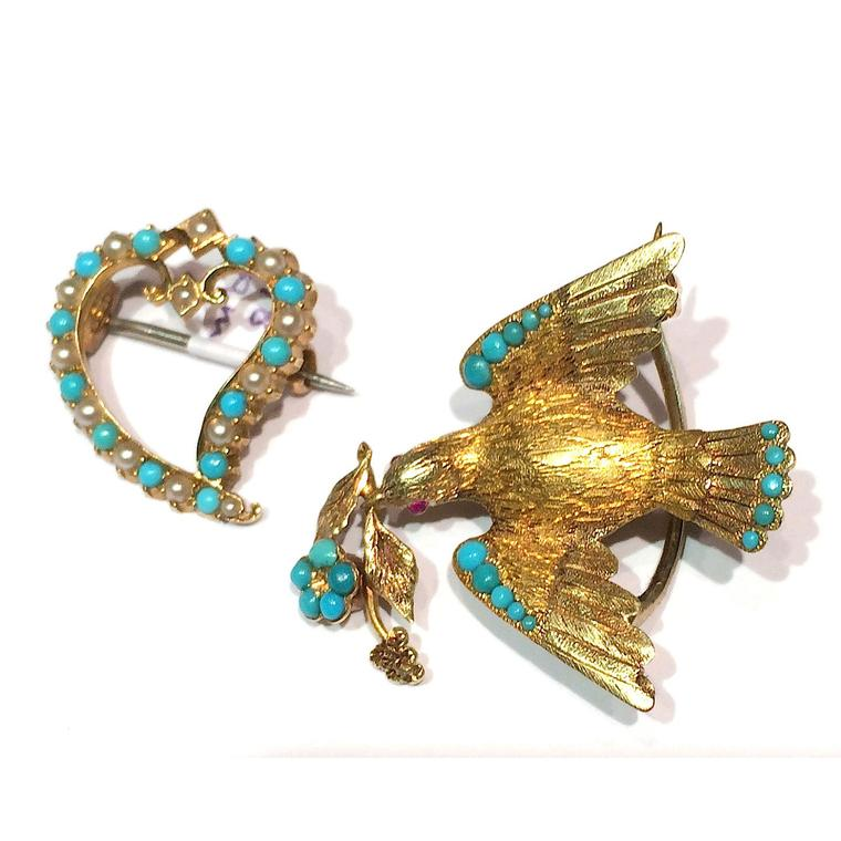 Antique brooches Lowther Antiques Victorian gold and turquoise bird