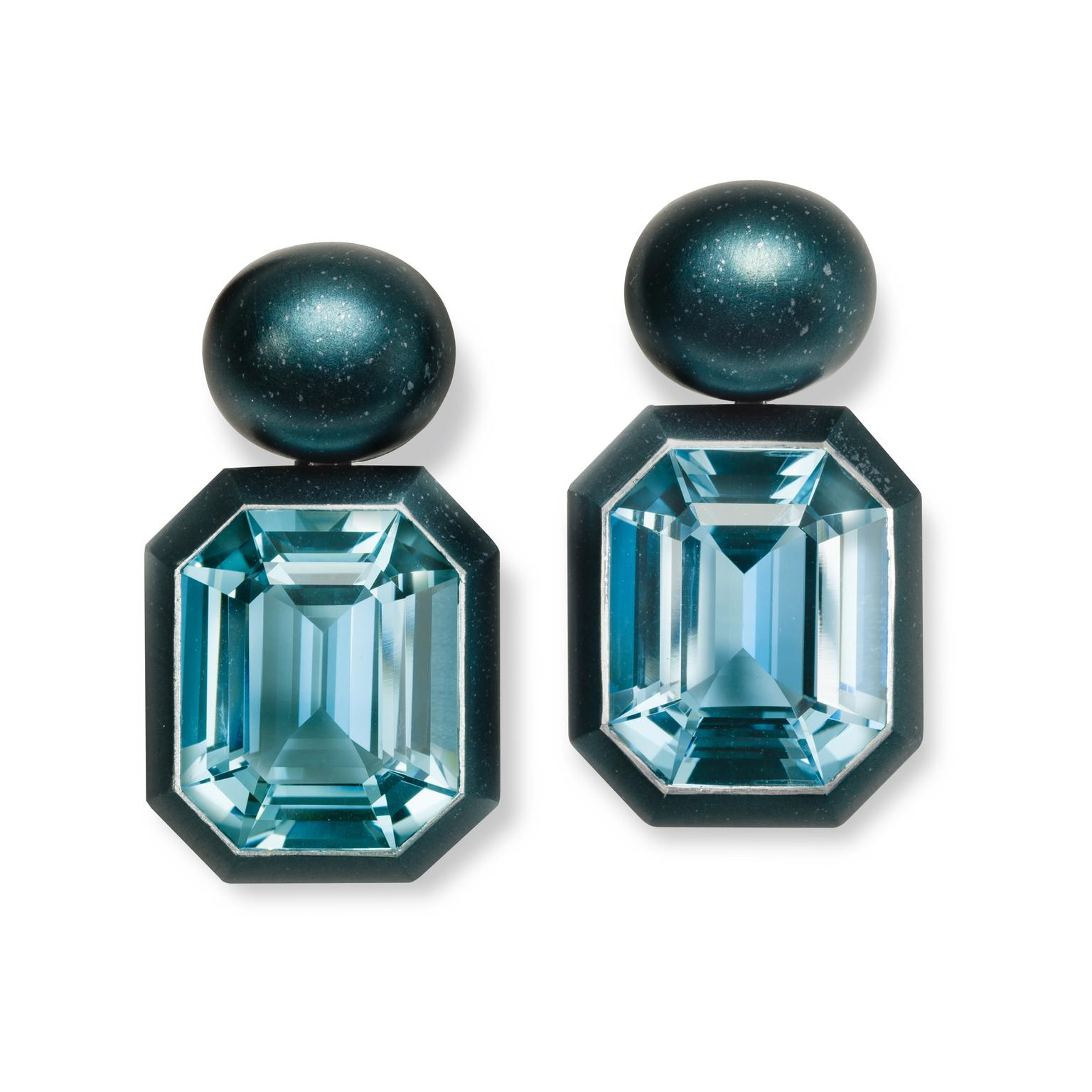 Hemmerle aquamarine aluminium earrings