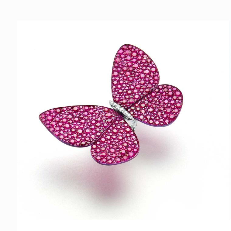 Glenn Spiro titanium butterfly ring with burmese rubies and white diamonds