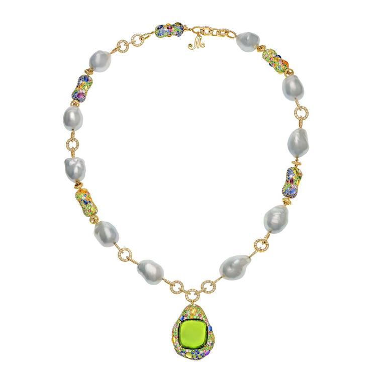Margot McKinney baroque pearl and peridot necklace
