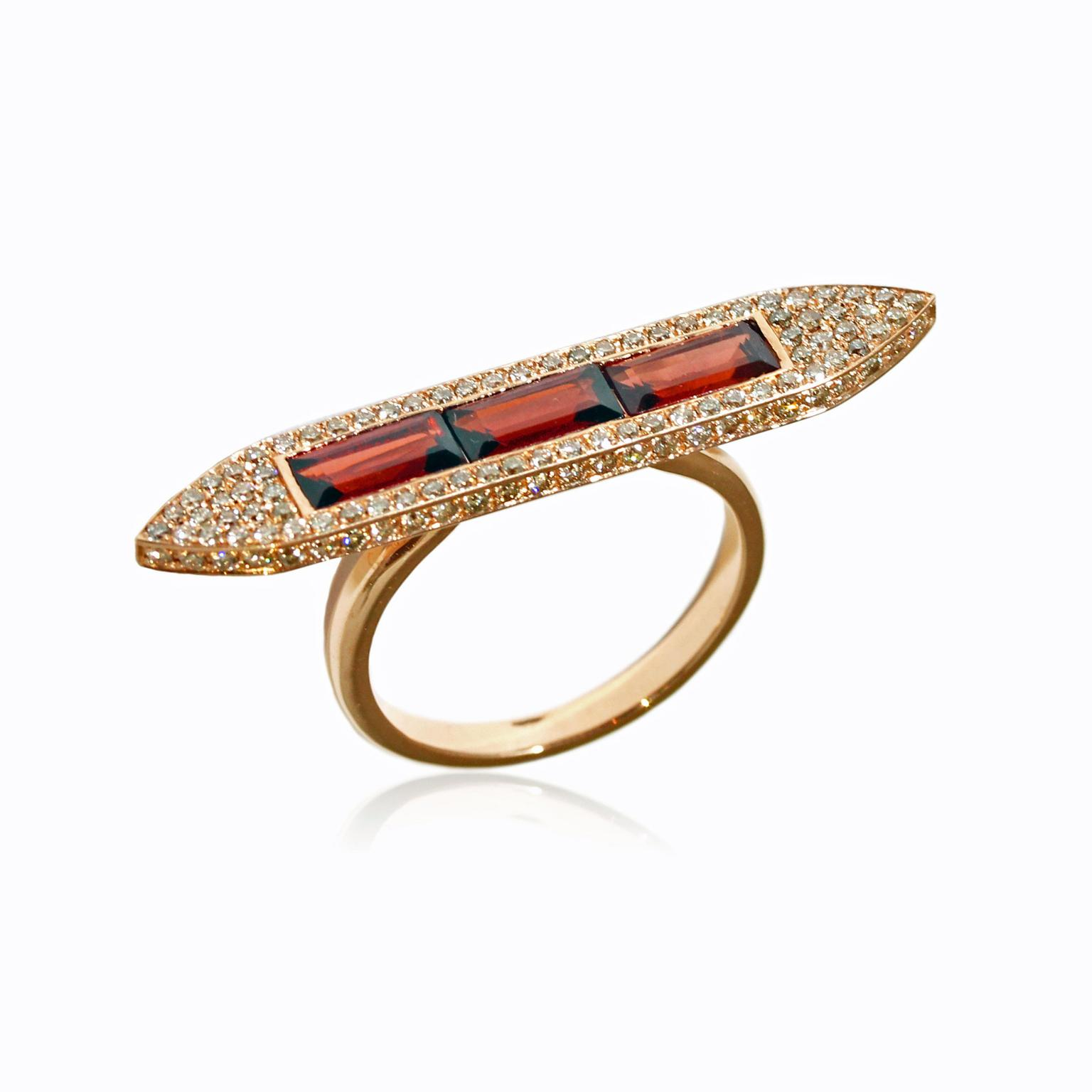 Ralph Masri geometric rose gold and diamond ring