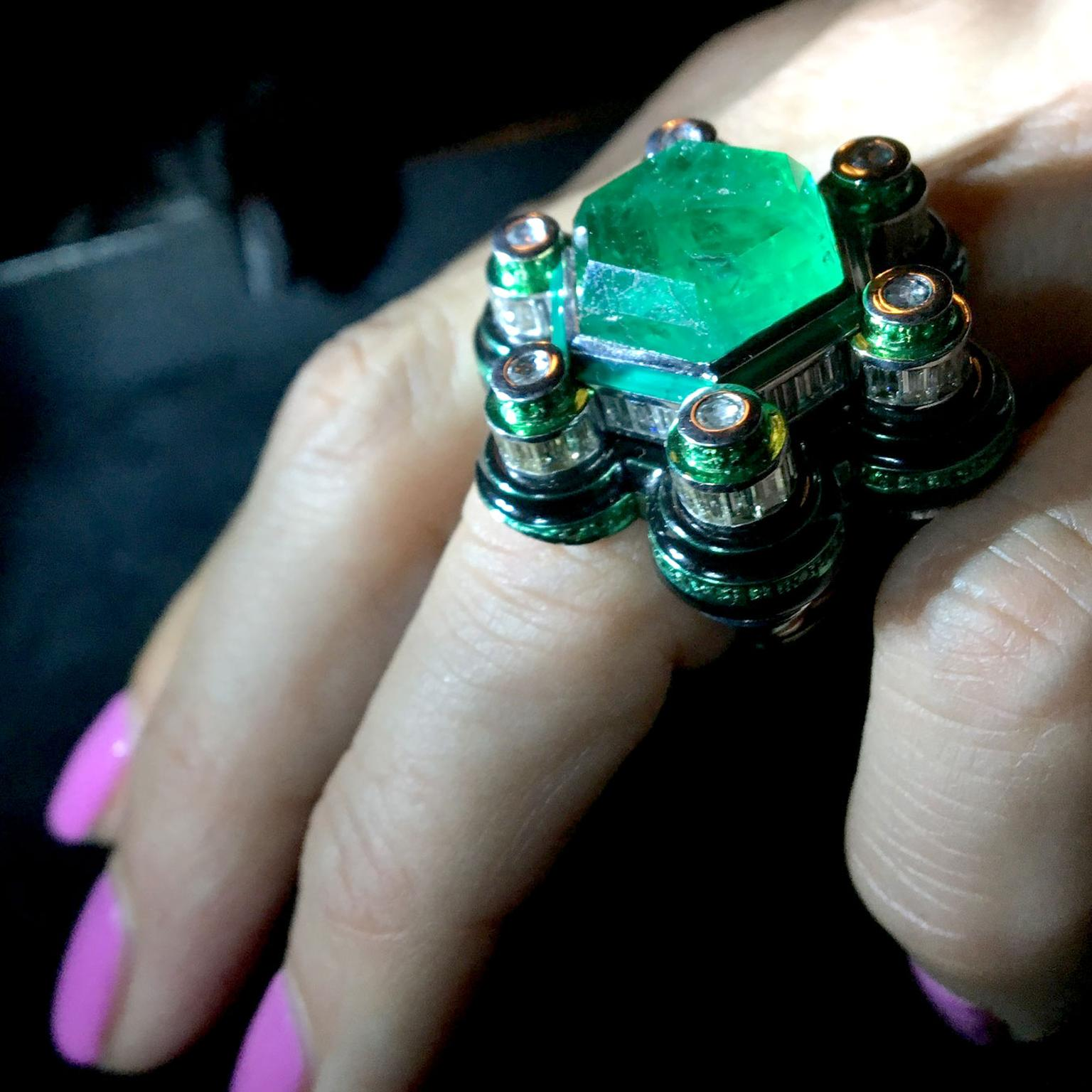 Solange Azagury-Partridge Poptails Space Station emerald cocktail ring