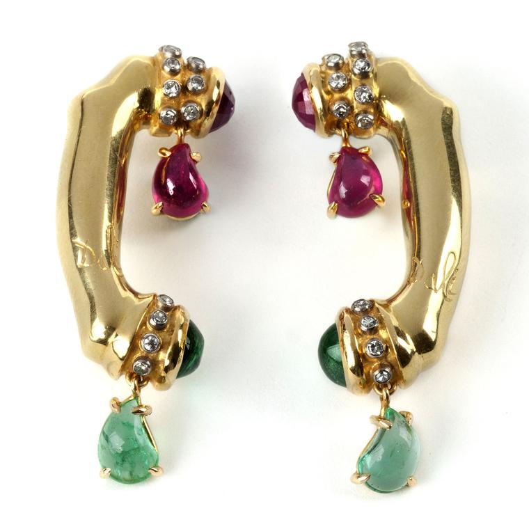 Salvador Dali melting telephone earrings for sale at Didier, seen at TEFAF 2017