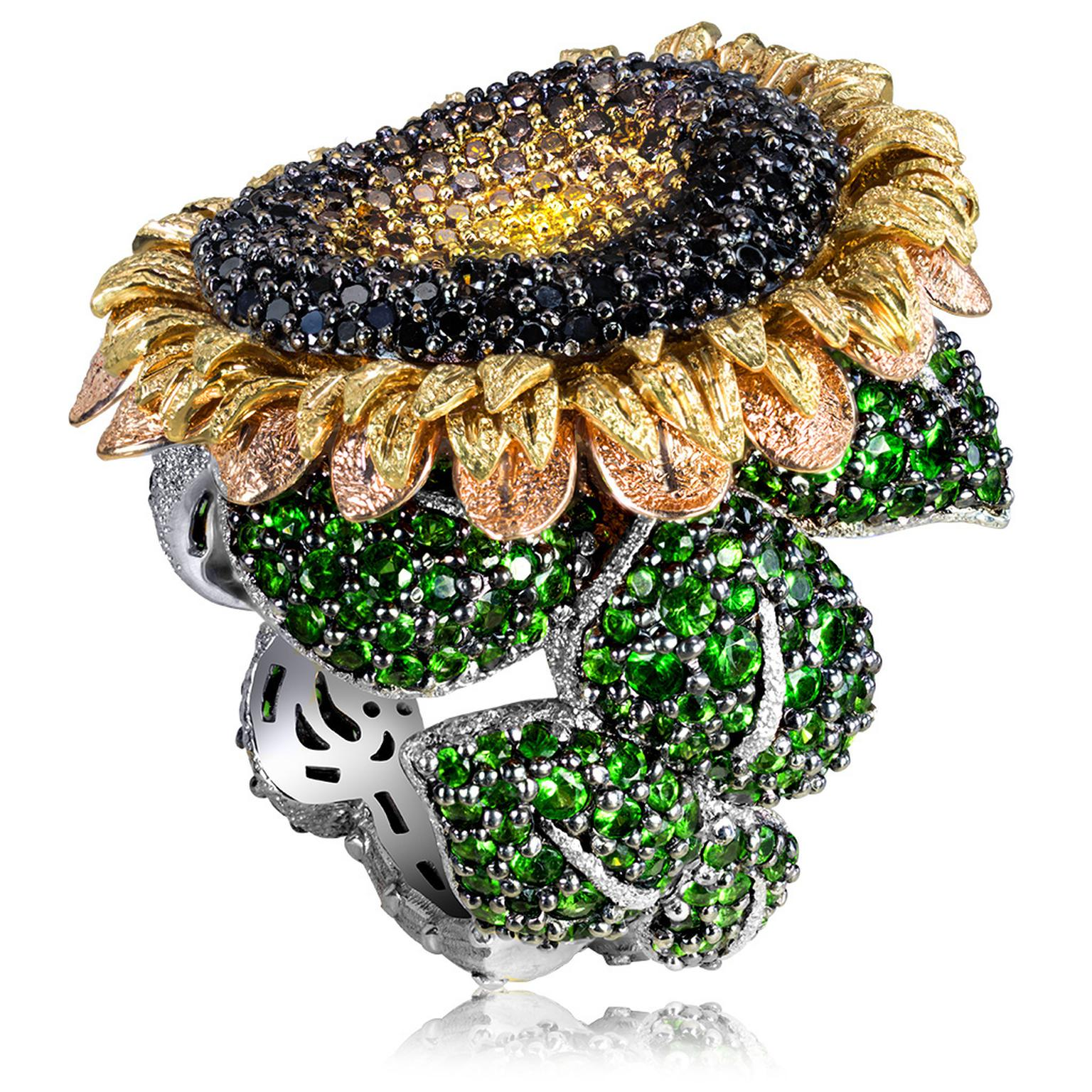 Gold Sunflower Ring from Alex Soldier