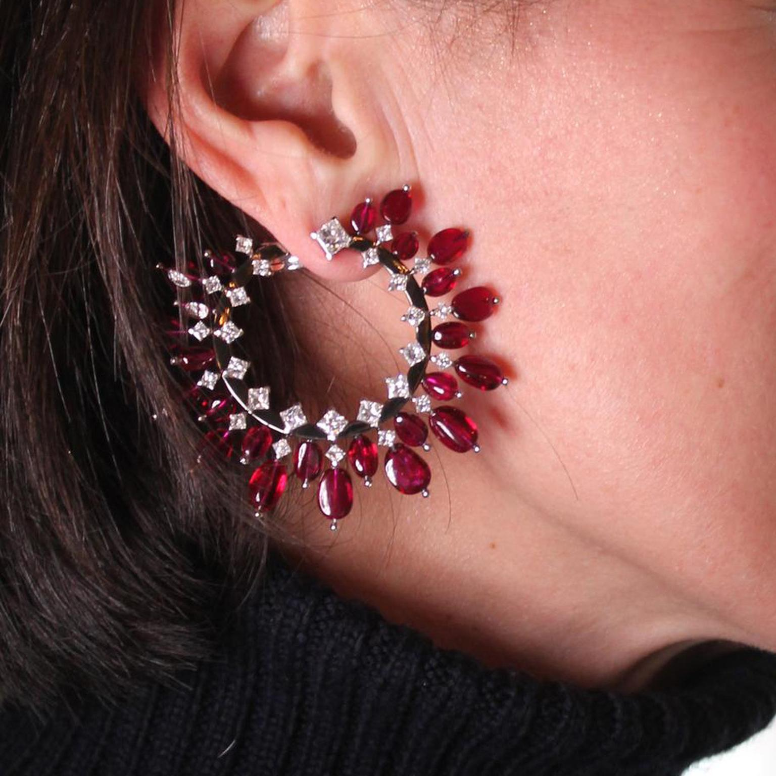 Alexandre Reza pigeon's blood ruby hoop earrings