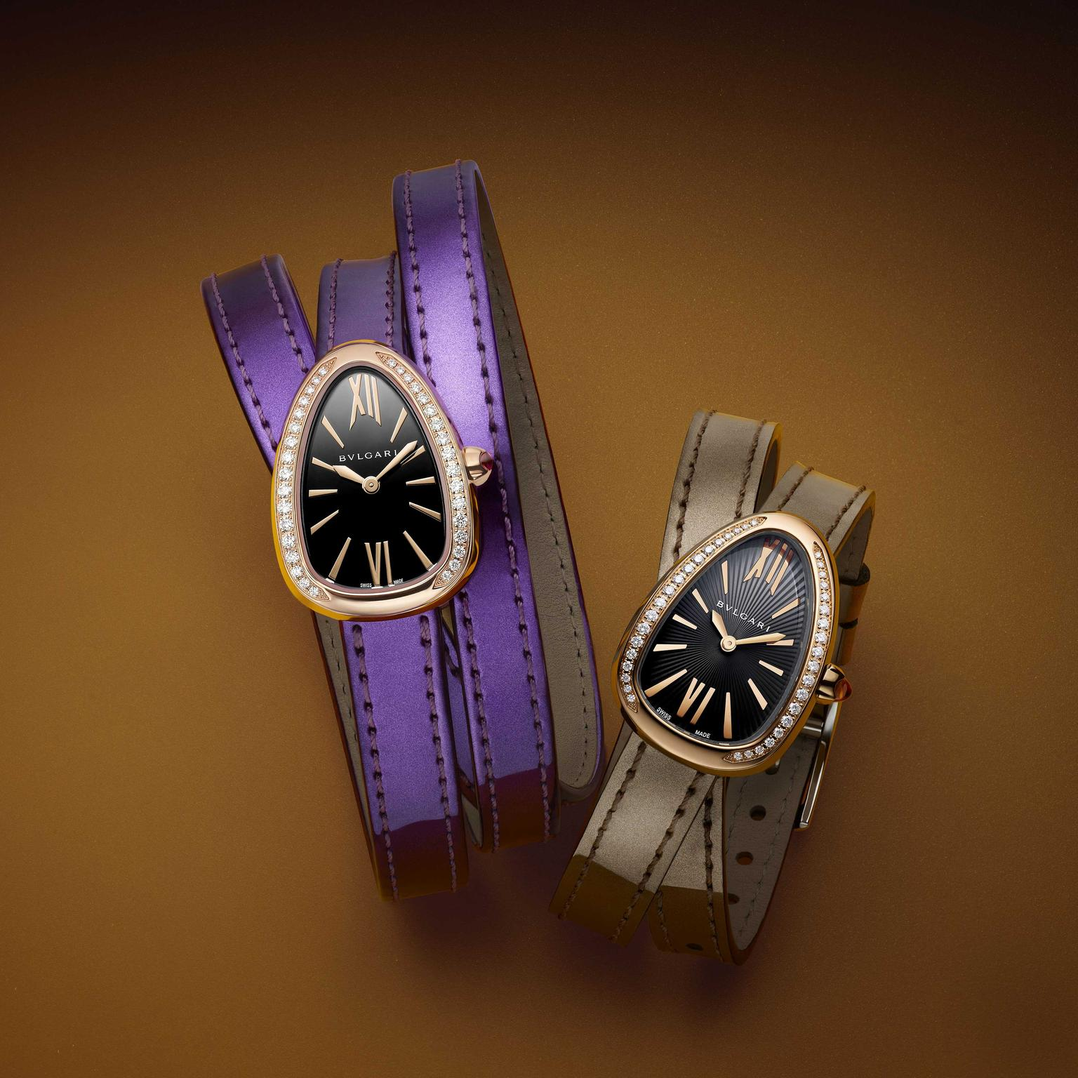 Bulgari Serpenti Twist Your Time ladies watches in gold on metallic leather straps