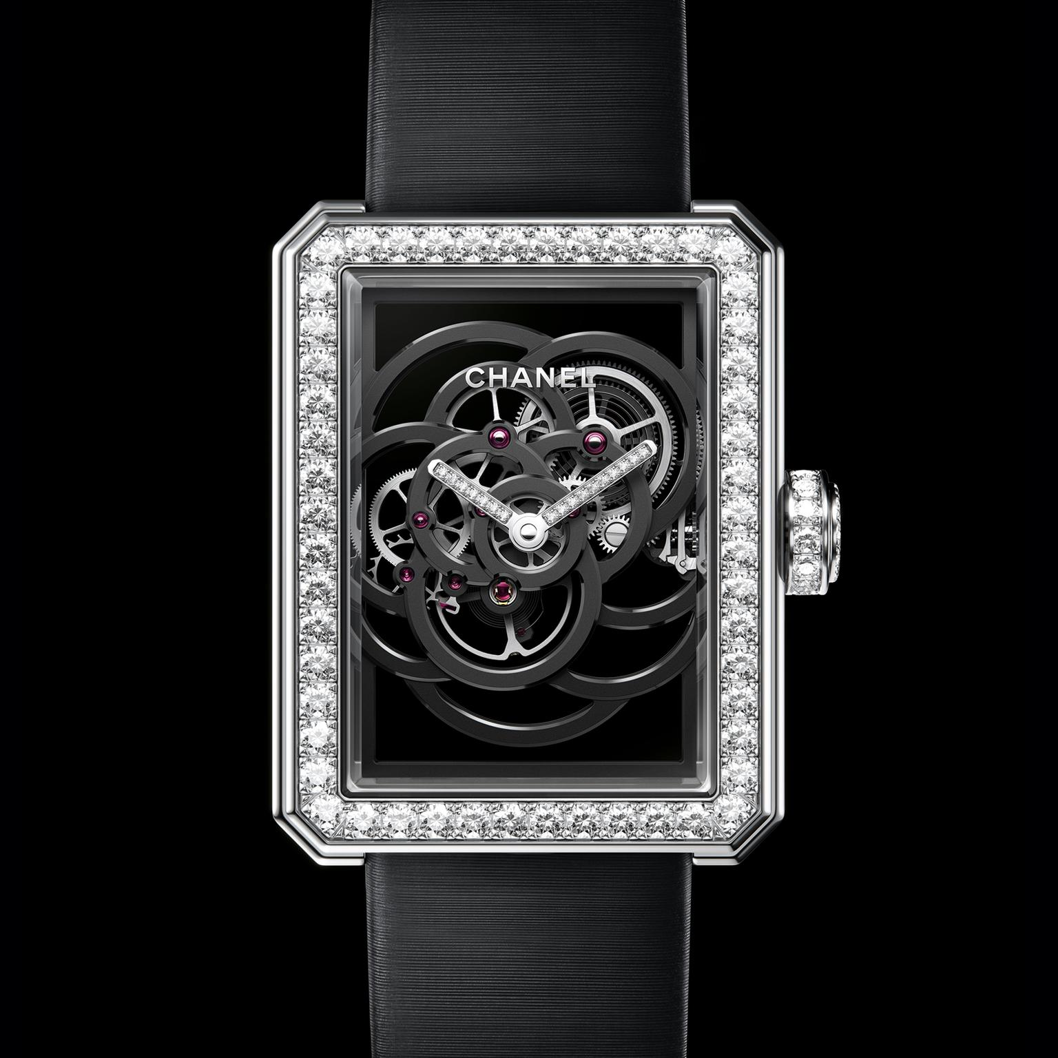 Chanel Premiere Camelia Skeleton Black