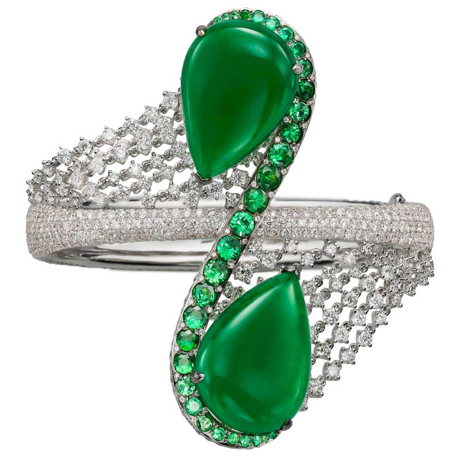 Boghossian diamond and pear-shaped jadeite bracelet