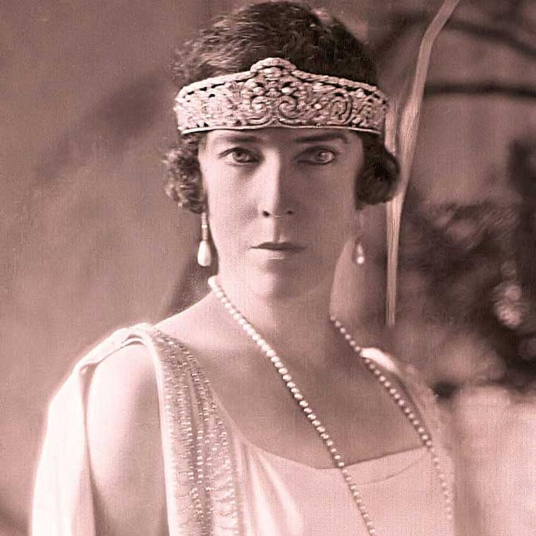 Queen Elisabeth of Belgium wearing the platinum garland-style tiara created for her in 1912 by Cartier showing the lightness of settings now possible thanks to the introduction by Louis Cartier of platinum into jewellery.