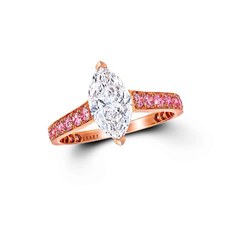Graff rose gold marquise-cut pink diamond engagement ring